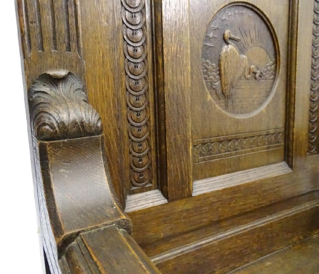 A late 19thC oak throne chair / arm chair with demi - 9