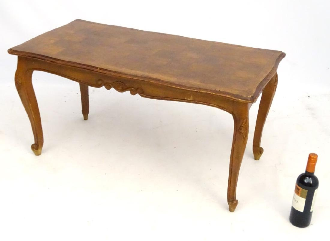 A Louis XV style oak coffee table with shaped moulded - 2