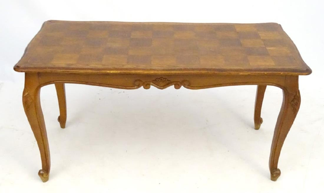 A Louis XV style oak coffee table with shaped moulded - 3