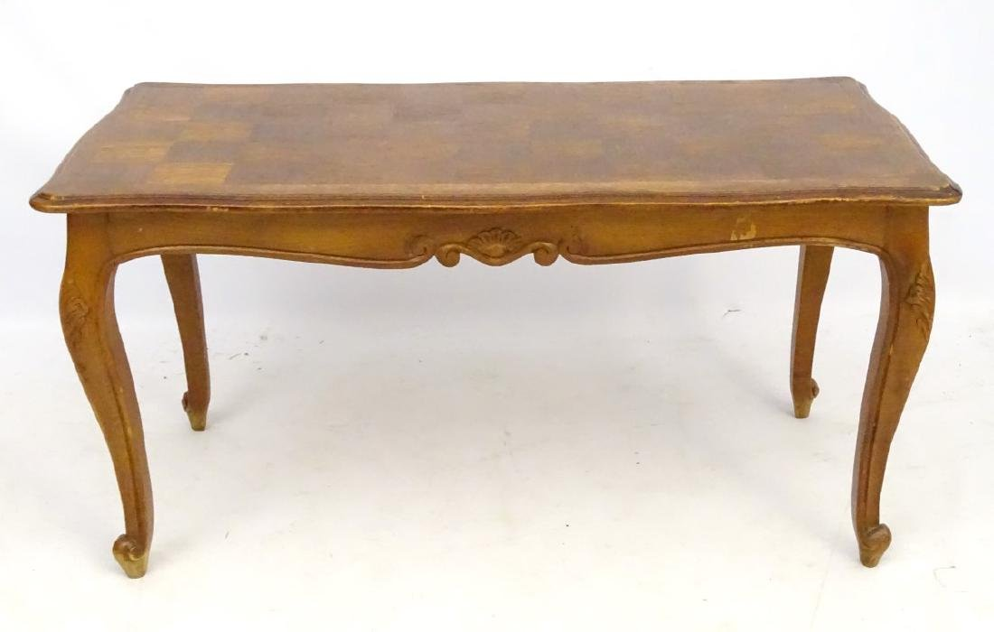 A Louis XV style oak coffee table with shaped moulded - 5