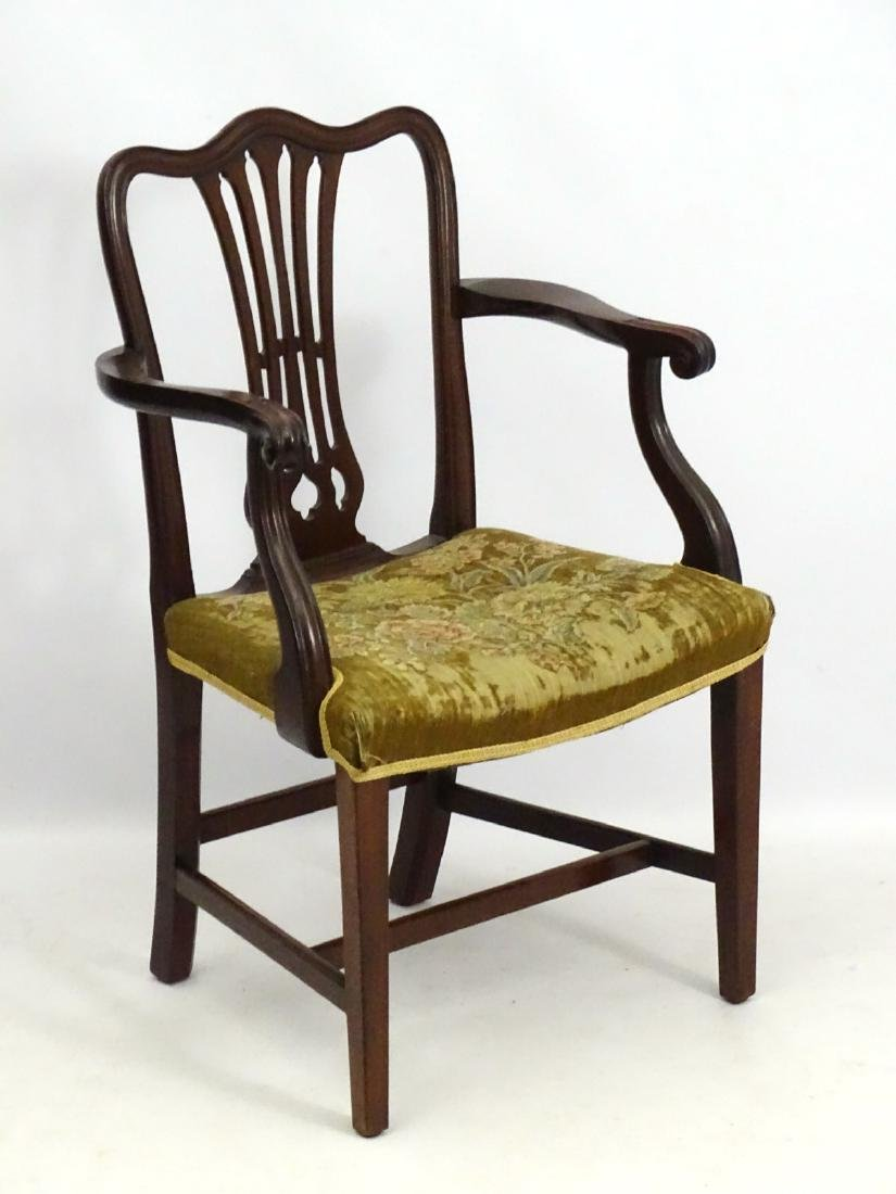A Late 19thC Mahogany Open Armchair / Desk Chair With