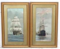 A pair of 19th C chromolithographs in period frames of
