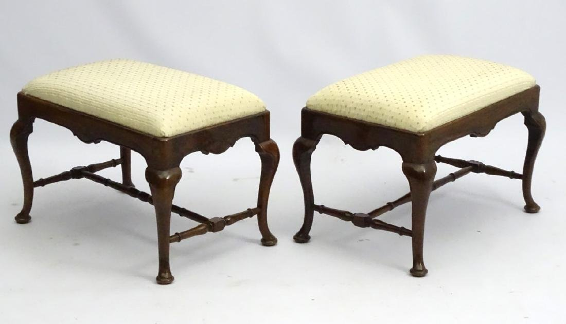 A pair of 18thC walnut stools with drop in seats and - 2