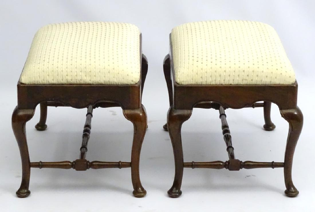 A pair of 18thC walnut stools with drop in seats and - 3
