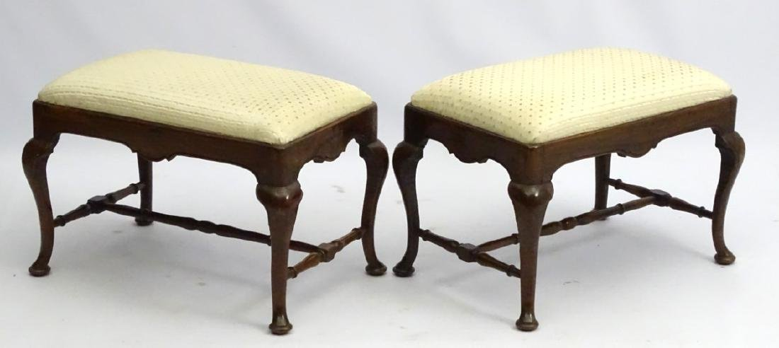 A pair of 18thC walnut stools with drop in seats and - 4