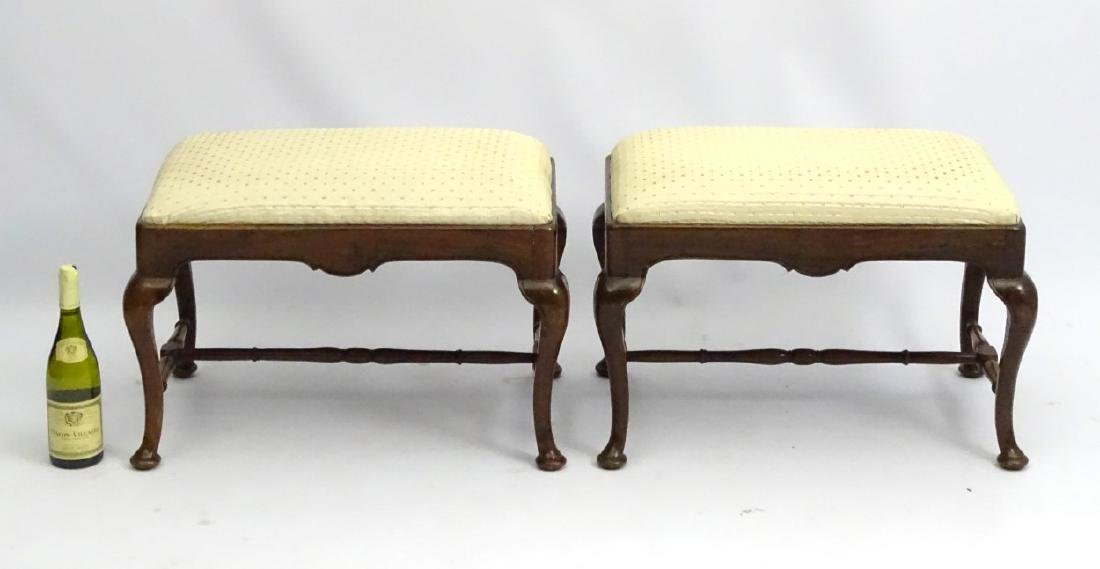 A pair of 18thC walnut stools with drop in seats and - 5
