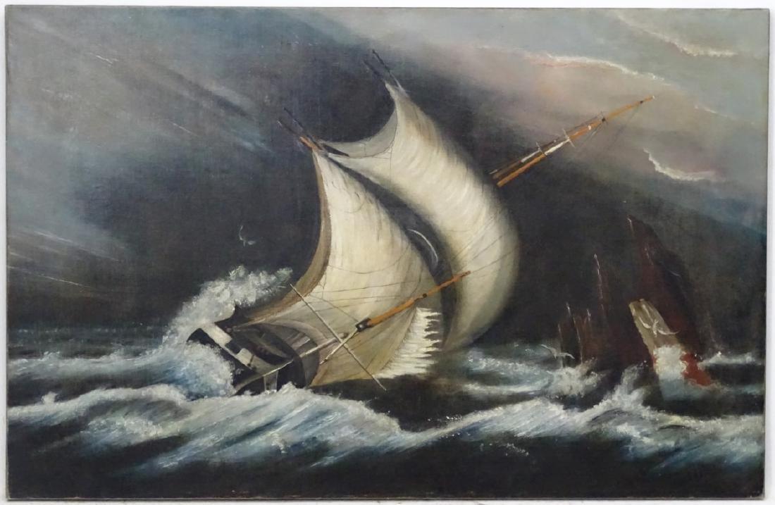 Follower of WT Huggins Marine School, Oil on canvas,