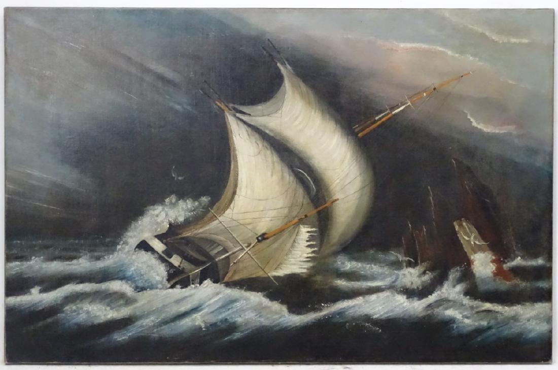Follower of WT Huggins Marine School, Oil on canvas, - 3