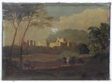 19 th C English School Oil on canvas Falconers