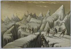 George Baxter rare lithograph  print  Mountaineering