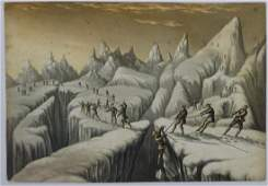 George Baxter rare lithograph / print , Mountaineering,