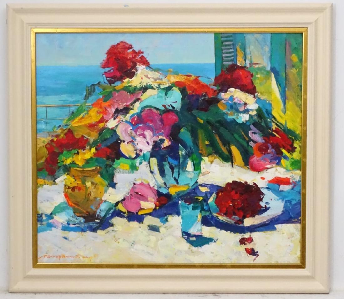 Russian School XX Oil on canvas  Impressionist still