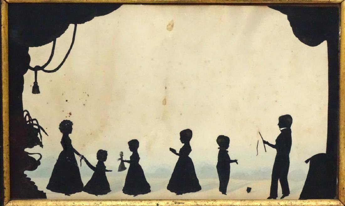 Early family cut silhouette conversation piece, c1820, - 3