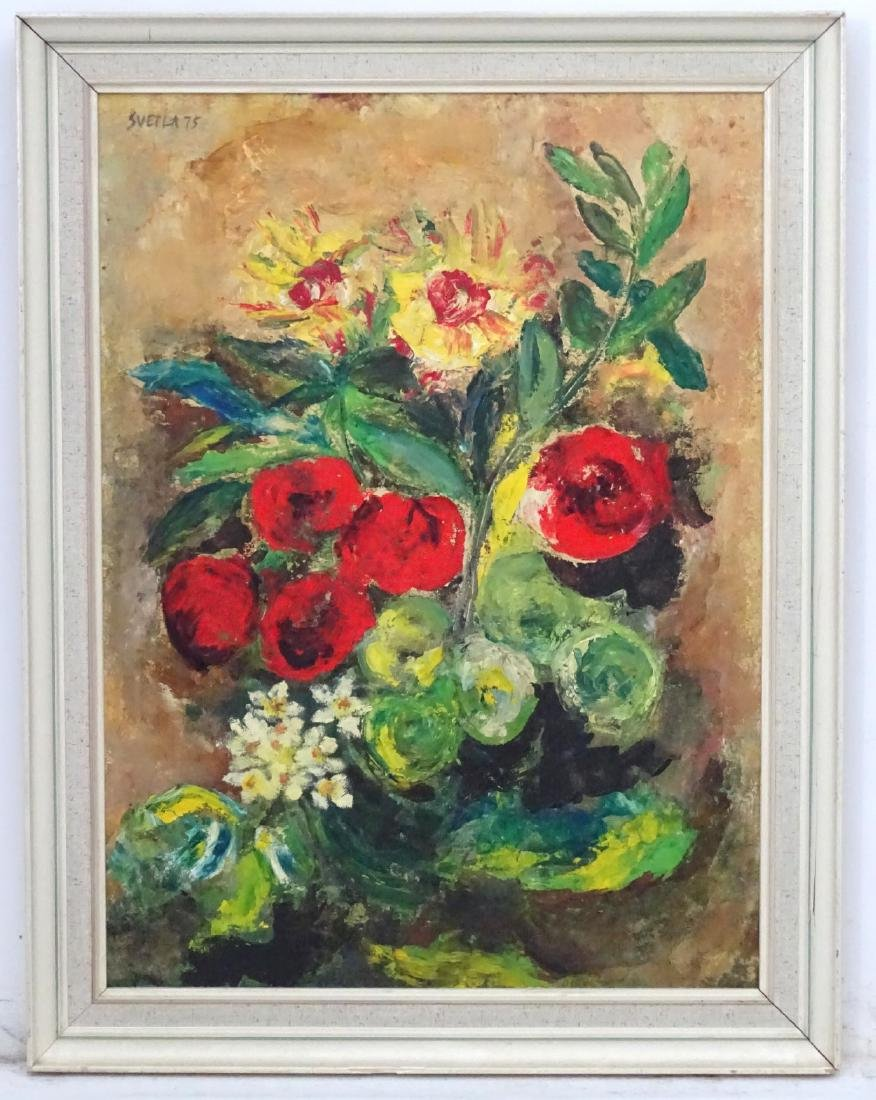 'Svetla 75', Oil on board Still life of flowers ,
