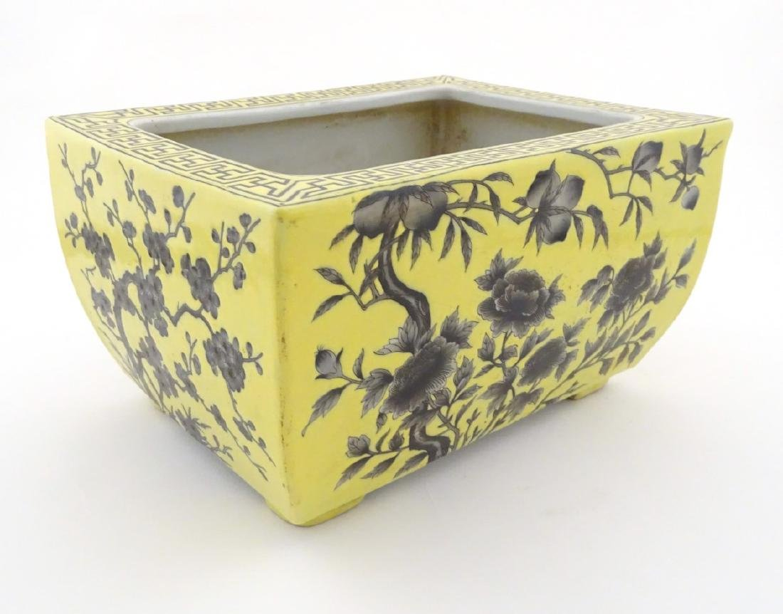 A Chinese yellow oblong planter decorated with black - 3