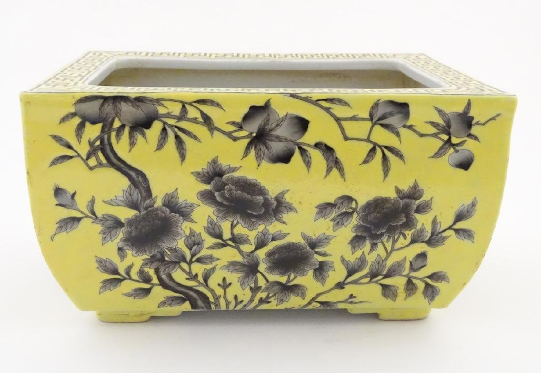 A Chinese yellow oblong planter decorated with black - 4