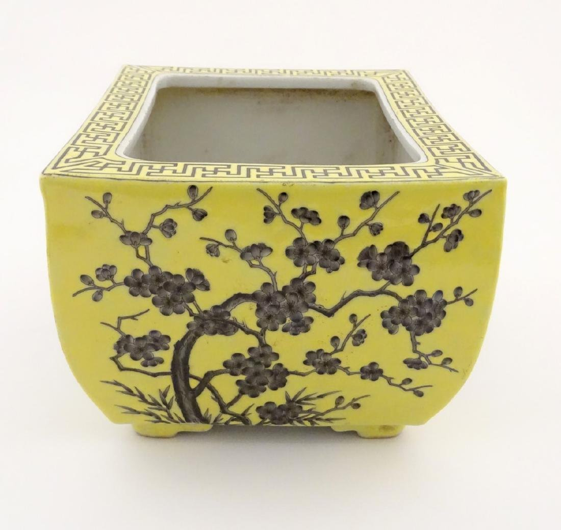 A Chinese yellow oblong planter decorated with black - 5