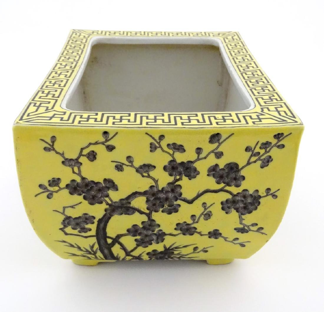 A Chinese yellow oblong planter decorated with black - 6