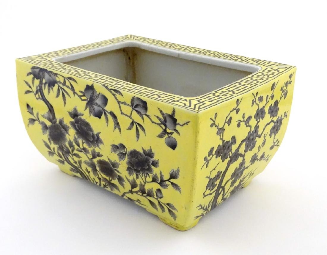 A Chinese yellow oblong planter decorated with black - 7