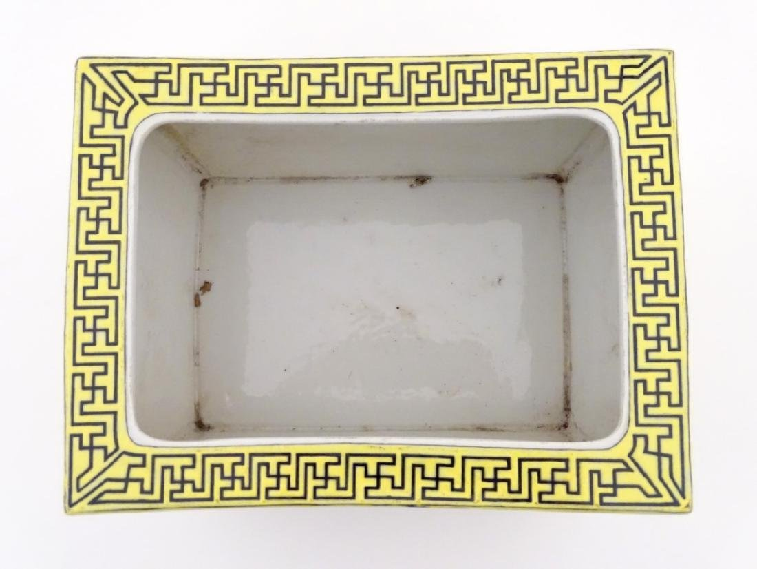 A Chinese yellow oblong planter decorated with black - 8