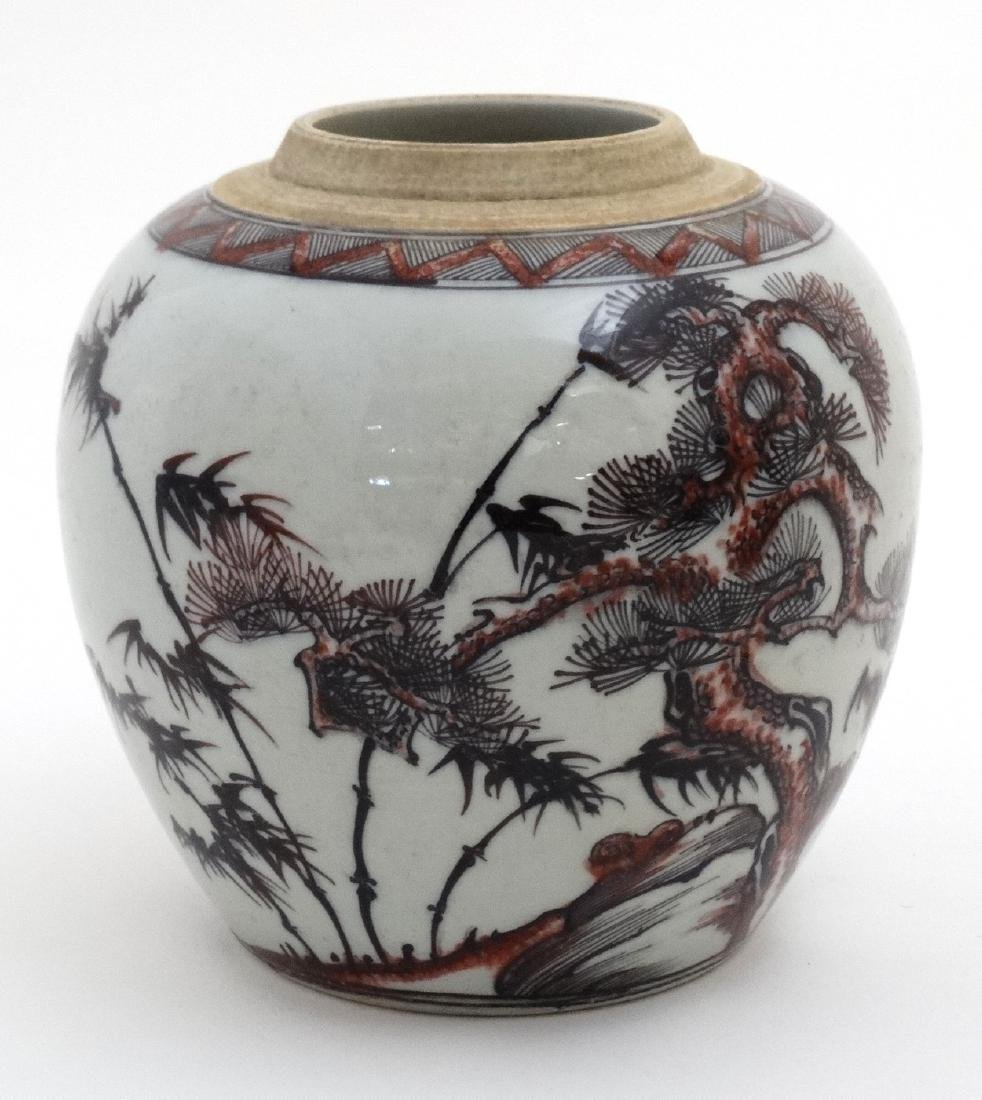 A Chinese red, black and white vase decorated with - 2