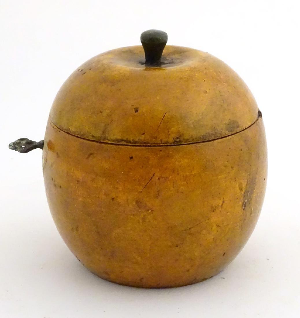 A 21stC tea caddy formed as an apple 4 1/2'' high - 4