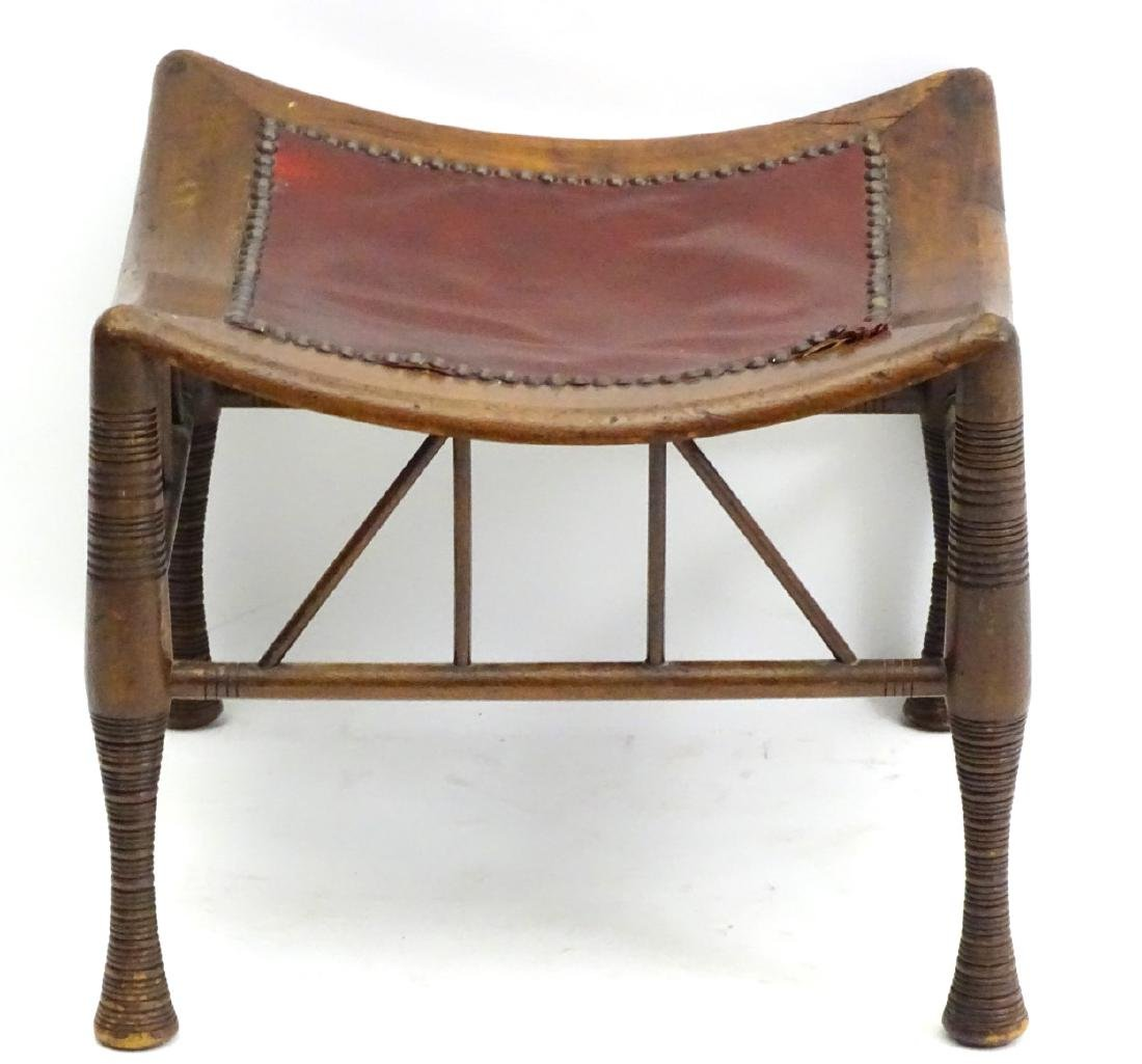 A late 19thC Egyptian revival Thebes stool in manner of - 3