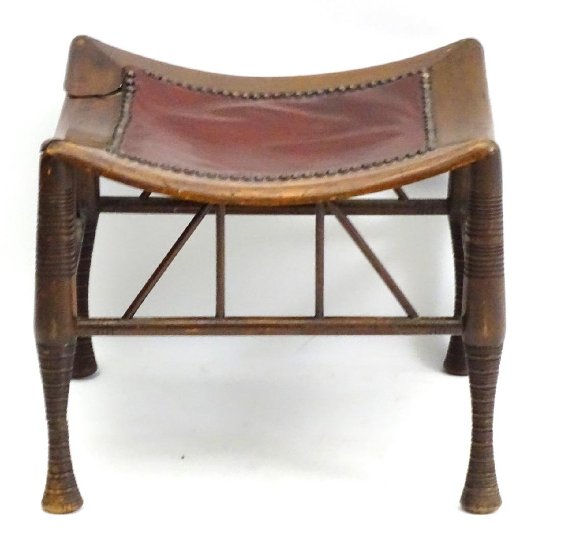 A late 19thC Egyptian revival Thebes stool in manner of - 4