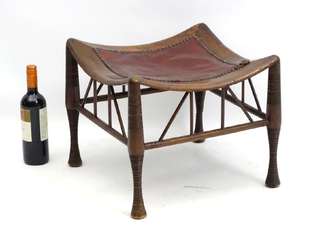 A late 19thC Egyptian revival Thebes stool in manner of - 6