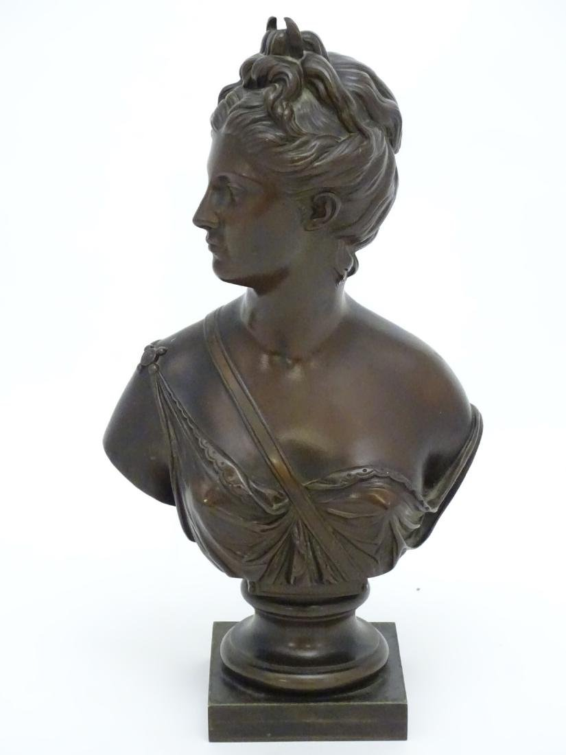 19 thC patinated cast bronze bust of the classical god - 4