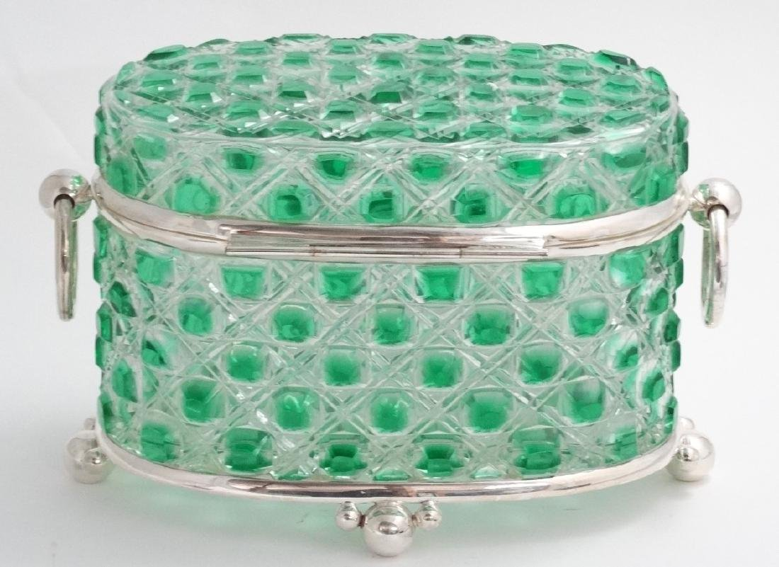 A hobnail cut glass table casket, green and clear glass - 2