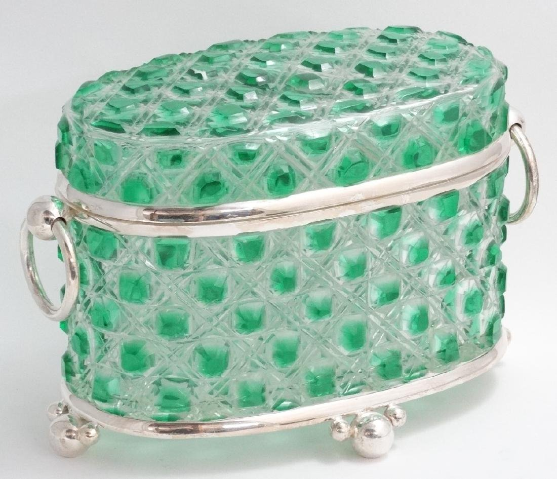 A hobnail cut glass table casket, green and clear glass - 3
