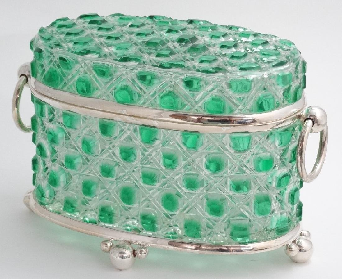 A hobnail cut glass table casket, green and clear glass - 4