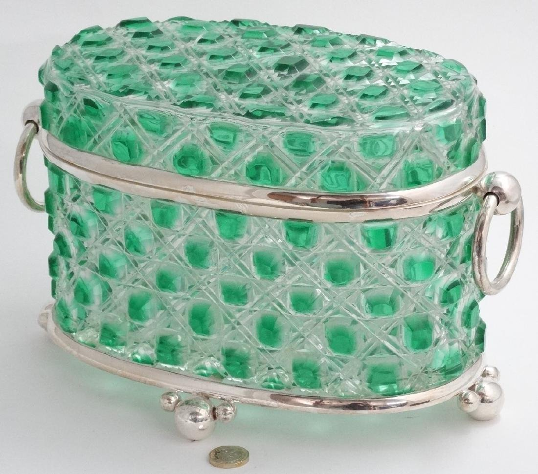 A hobnail cut glass table casket, green and clear glass - 5