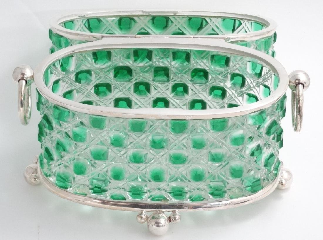 A hobnail cut glass table casket, green and clear glass - 6