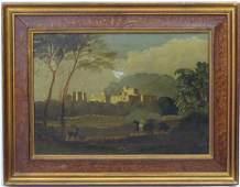 XIX English School Oil on Continental canvas