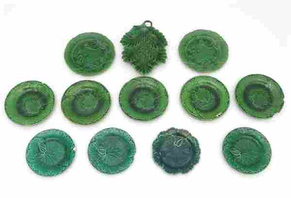A quantity of Victorian and later majolica cabbage leaf