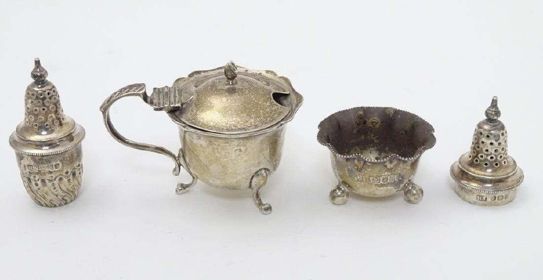 Assorted silver items to include a mustard pot