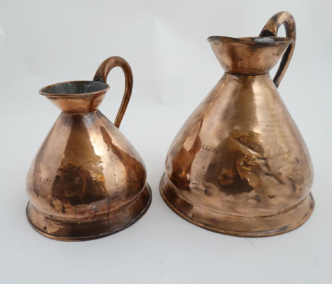 2 19thC / 20thC copper haystack / harvest jugs measures