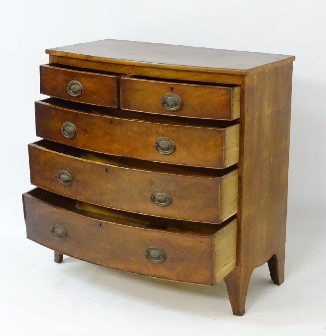 A Victorian mahogany bow fronted chest of drawers, - 4