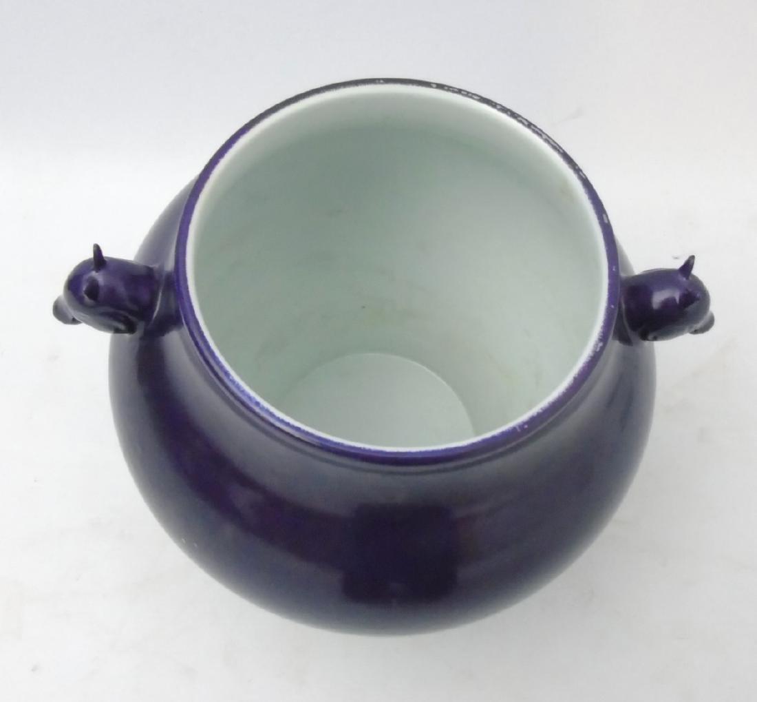 A Chinese monochrome vase, in qiepi zi aubergine / - 6