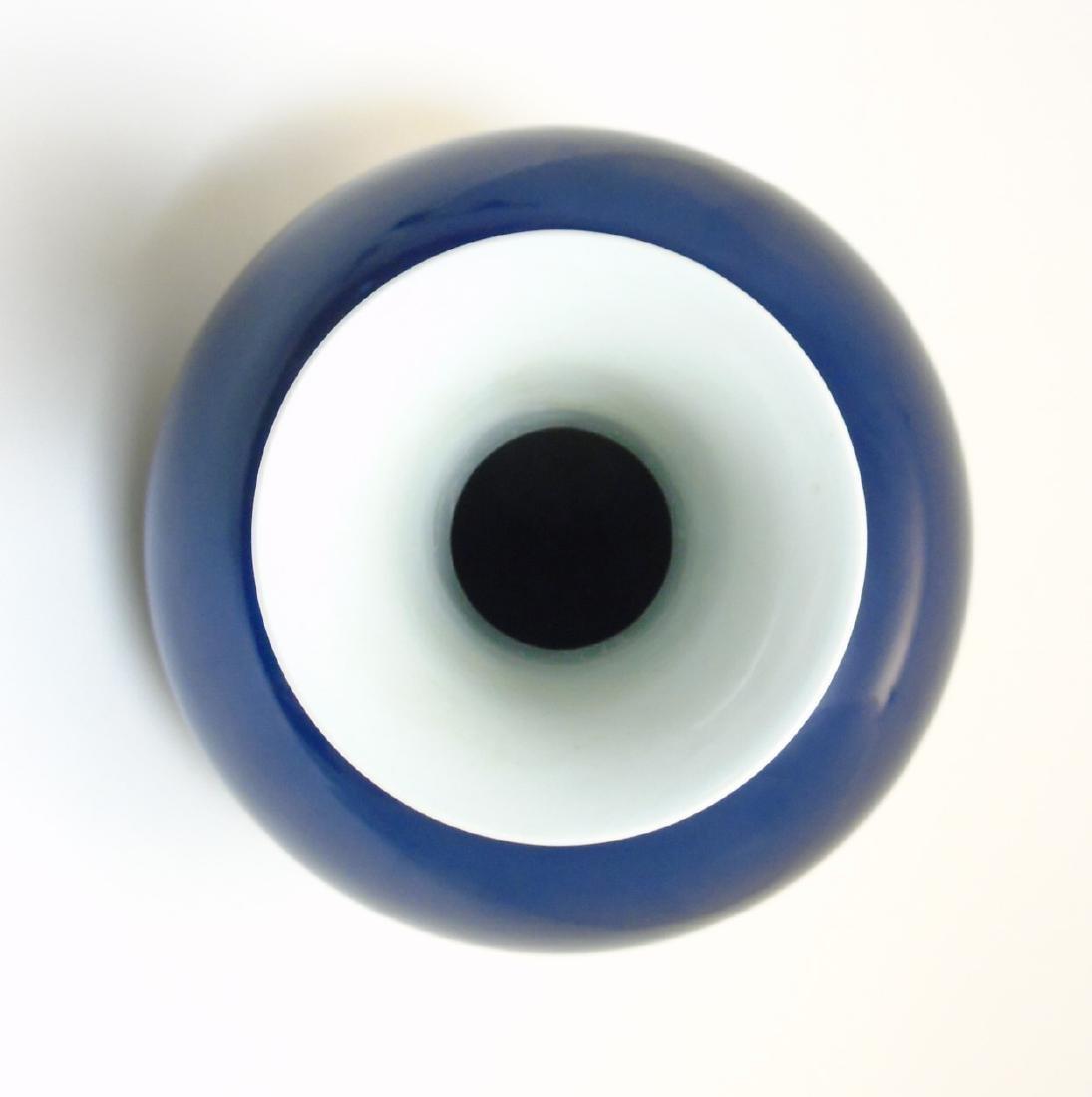 A Chinese blue monochrome Shangping vase with globular - 3