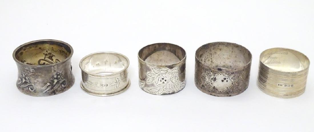 Various silver napkin ring to include examples
