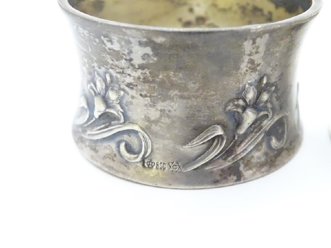 Various silver napkin ring to include examples - 3