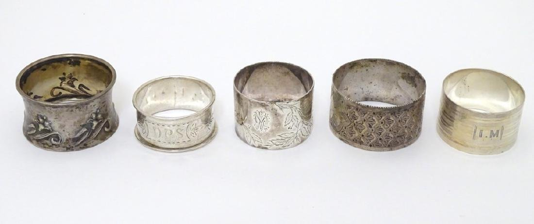Various silver napkin ring to include examples - 8