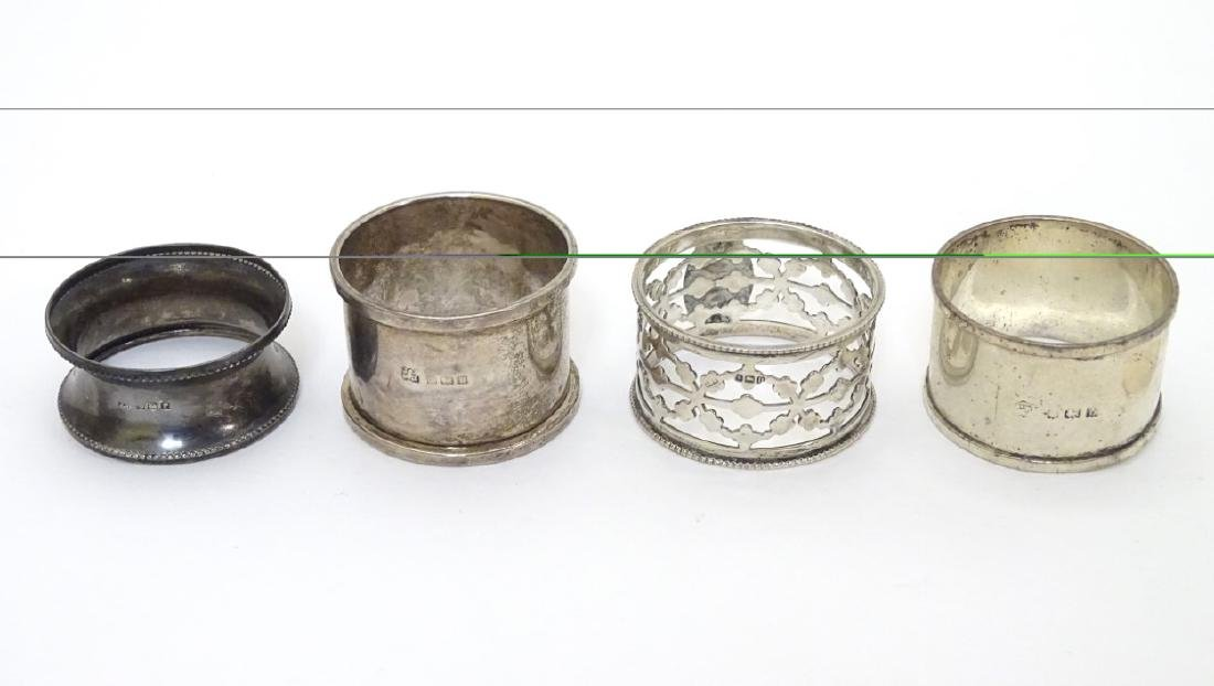 4 assorted silver napkin rings including examples
