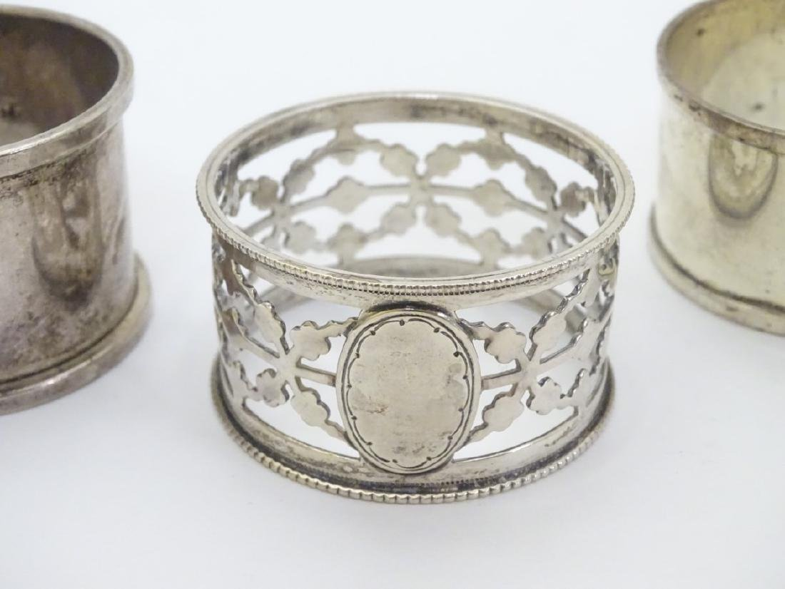 4 assorted silver napkin rings including examples - 2