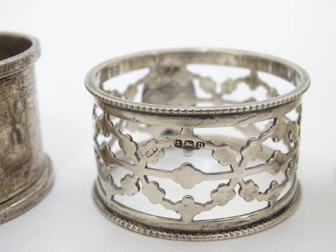 4 assorted silver napkin rings including examples - 5