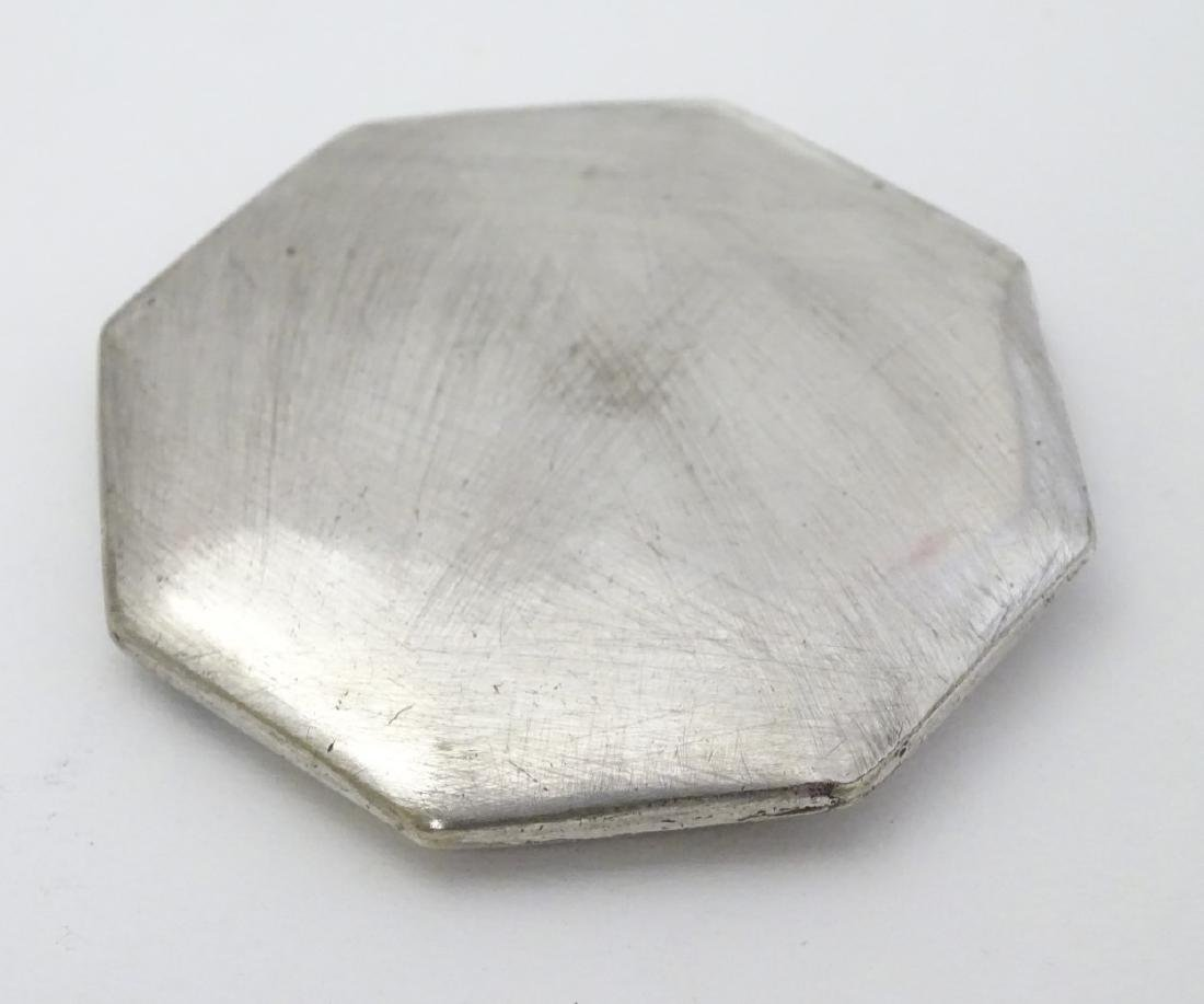 A silver plate powder compact of octagonal form with - 2