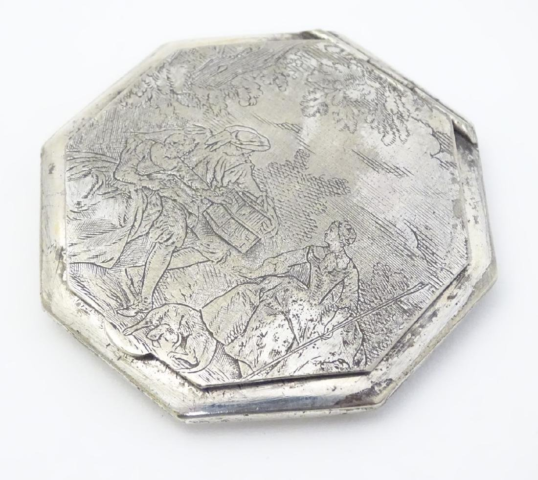 A silver plate powder compact of octagonal form with - 3